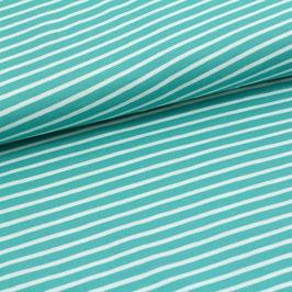 Biojersey Streifen / mint-weiss / 0.5 m