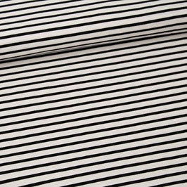 Biojersey Streifen / weiss-schwarz / 0.5 m