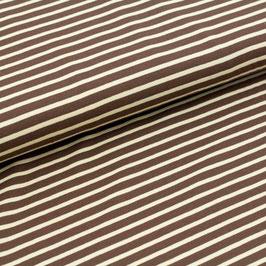Biojersey Streifen / dunkelbraun-hellbeige / 0.5 m