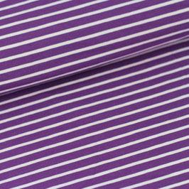 Biojersey Streifen / lila-weiss / 0.5 m