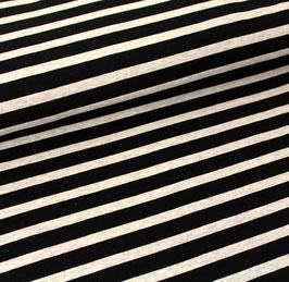 Biojersey Streifen / schwarz-melange / 0.5