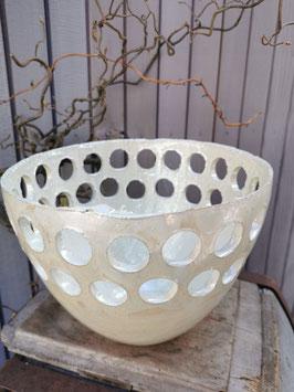 Leuchtobjekt aus feinster Keramik mit Perlmutglasur,  25cm Durchmesser