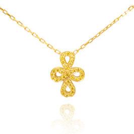 0.12 Carat, Fancy Vivid Yellow Cross-over Figure of Eight Pave Diamond Pendant