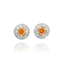 0.33 Carat, Fancy Dark Brownish Orange & White pave Halo Diamond Earrings weighing 0.33ct.