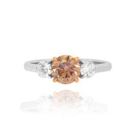 1.09 Carat, Fancy Dark Yellowish Brown Round Brilliant Three Stone Ring, Round, SI1