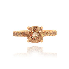 2.00 Carat, Fancy Yellow Brown Round Brilliant Diamond Engagement Ring, Round, SI1