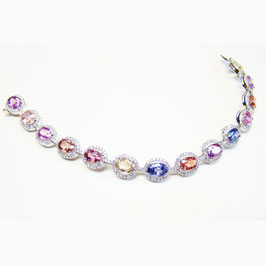 16.02 Carat, Oval Sapphire & Diamond Multicolored Bracelet weighing 16.02ct set in 18K gold., Oval
