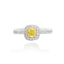 0.35 Carat, Fancy Yellow Cushion Diamond Halo Ring, Cushion, VS1