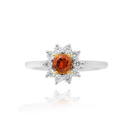 0.51 Carat, Fancy Deep Brown Orange Round Brilliant Diamond Ring, Round, SI2