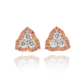 0.41 Carat, Fancy Pink and white diamond pave set earrings, Round, VS1