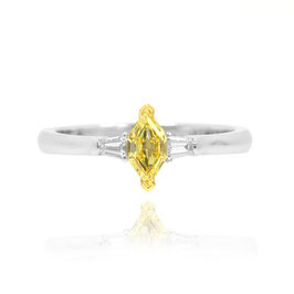 Engagement ring 0.43 Carat, Fancy Yellow Marquise