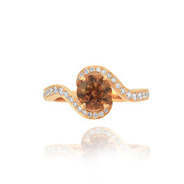 1.12 Carat, Fancy Dark Orangy Brown Round Cross- Over Brilliant Diamond Ring GIA 18K Gold, Round, SI1