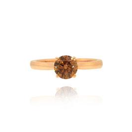1.13 Carat, Fancy Dark Orange Brown Diamond Solitaire engagement ring, Round, VS2