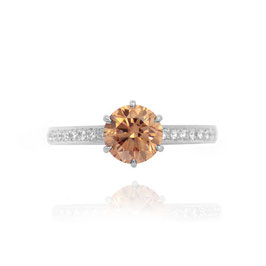 1.18 Carat, Fancy Brown Round Brilliant Diamond Engagement Ring, Round, VS1
