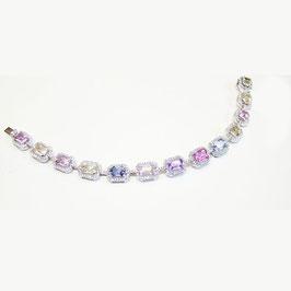 17.51 Carat, Multicolored Emerald Cut Sapphire & Diamond Bracelet set with 13 stones 15.27ct, Emerald