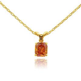 0.69 Carat, Fancy Deep Yellowish Orange Radiant Diamond Solitaire Pendant, Radiant, SI2