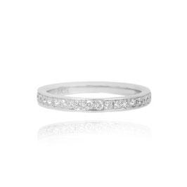0.30 Carat, Round Brilliant Diamond Half Eternity Pave Set Wedding Ring, Round, VS1