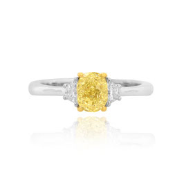 0.91 Carat, Fancy Yellow Oval and Trapezoid Diamond Ring, Oval, VVS2
