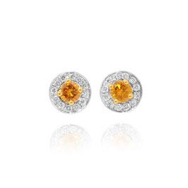 0.33 Carat, Fancy Vivid Orangy Yellow & White Millgrain Pave Diamond Earrings set in 18KGold