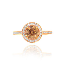 1.15 Carat, Fancy Yellow Brown Round Diamond Halo 18k Engagement Ring, Round, VS2