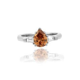 1.27 Carat, Fancy Deep Orange Brown Pear and Taper Diamond Ring in Platinum, Pear, SI1