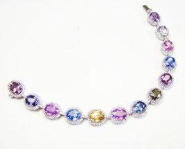 22.36 Carat, Pink Peach Blue Oval Multicolored Sapphire & Diamond Bracelet, Oval