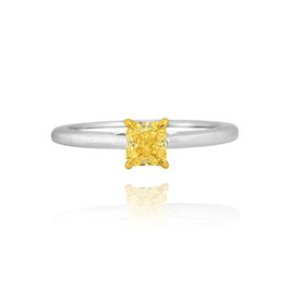 0.59 Carat, Fancy Intense Yellow Radiant Diamond solitaire ring, Radiant, SI1