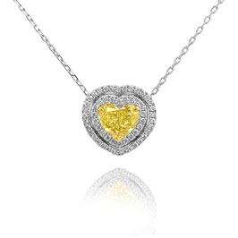1.01 Carat, Fancy Yellow Heart Diamond Double Halo Pendant, VVS2