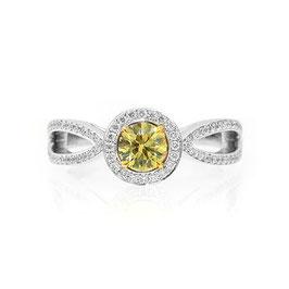 0.47 Carat, Fancy yellow round diamond ring with split bow shank, Round, VS2