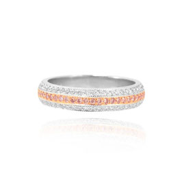 0.50 Carat, Fancy Pink and Collection Colour Diamond Pave Millgrain Wedding Band, Round, VS2
