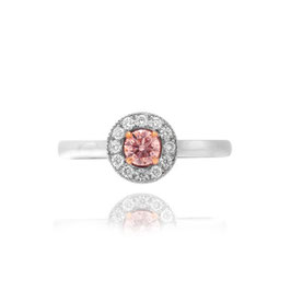 0.24 Carat, Fancy Light Pink round pave halo ring, Round, SI2