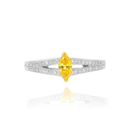 0.27 Carat, Fancy Vivid Orangy Yellow Marquise Diamond Side Stone Ring, Marquise