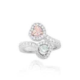 0.75 Carat, GIA certified Light Pink And Light Green Hart Diamond Halo Ring, Heart, VVS2