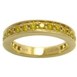 0.71 Carat, Fancy Vivid Yellow Diamond Band Ring set with 0.71cts and 18K Yellow Gold., Round