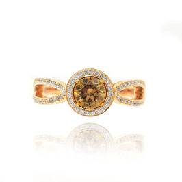 0.76 Carat, Rich Fancy Brown diamond halo ring, Round, VS1