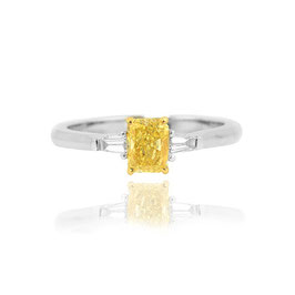 0.80 Carat, Fancy Intense Yellow Radiant and Taper Diamond Ring, Radiant, VS2