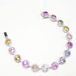18.78 Carat, Multicolored Round Sapphire and Diamond Bracelet TW 18.78ct set in 18K gold., Round