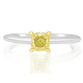 0.60 Carat, Fancy Yellow Solitaire Diamond Engagement Ring, Cushion, VS2