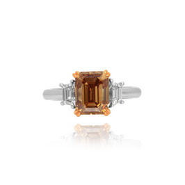 3.09 Carat, Fancy Orange Brown Emerald Cut Diamond Engagement Ring, Emerald, VS1