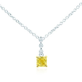Beautiful Fancy Intense Yellow Radiant Diamond Drop Pendant