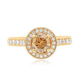 0.60 Carat, Fancy Brown Diamond Halo Engagement Ring, Round, SI1