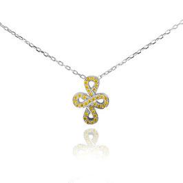0.13 Carat, Fancy Vivid Yellow Cross-over Figure of Eight Pave Diamond Pendant, Round