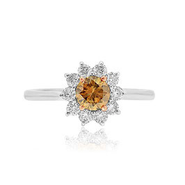 0.52 Carat, Fancy Brown Round Diamond Basket Halo Ring, Round, VS2