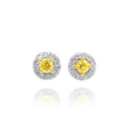 0.27 Carat, Fancy Intense Yellow Round Diamond Halo Earrings TW 0.27ct set in White 18K Gold, Round