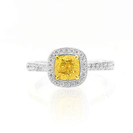 1.07 Carat, Vintage style Fancy Intense Yellow cushion diamond halo ring, Cushion, SI1