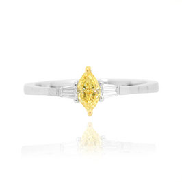 0.54 Carat, Fancy Intense Yellow Marquise and Taper Diamond Accent Ring, Marquise, SI1