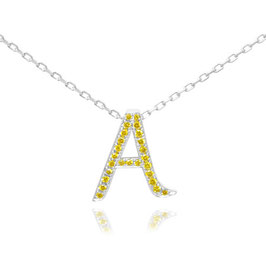 """0.11 Carat, Fancy Vivid Yellow """"A"""" Letter pendant set in 0.11ct Brilliant Pave and 18K Gold"""