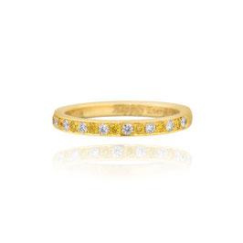 Yellow Gold Fancy Intense Yellow and White Diamond Wedding Band