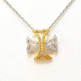 0.36 Carat, Fancy Vivid Yellow and Collection color Maltese Cross necklace