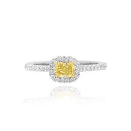 0.36 Carat, Fancy Yellow Radiant Diamond Halo Ring, Radiant, VVS1